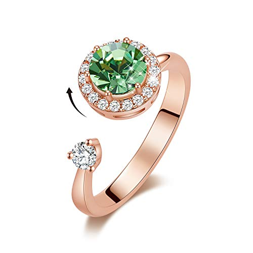 Animal Green Ring - CDE Birthstone Rings for Women Rose Gold Plated Embellished with Crystals from Swarovksi Open Expandable Design Fit Size for 6-8, Gift for Mothers Day