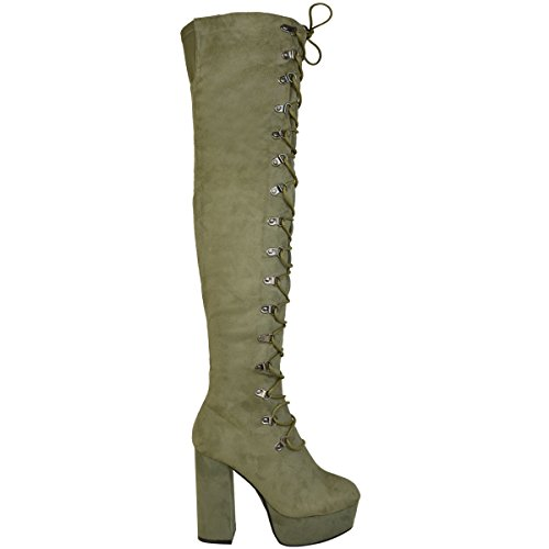 Stiletto Size Suede Thirsty Over The Boots Fashion Heel Faux Up Ladies Thigh Knee Shoes Khaki Lace High Green Womens zUxw6xqR