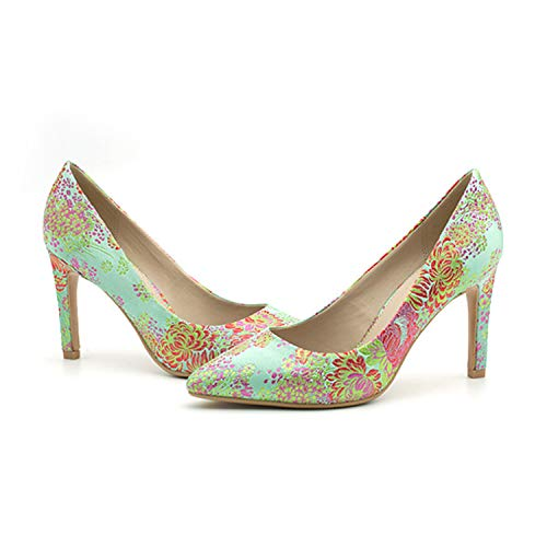 Print tacco Donna Colore Scarpe Dimensione Qiusa a Shoes Verde on con Verde High Heel Flower EU spillo 37 Slip Eq0XXwC