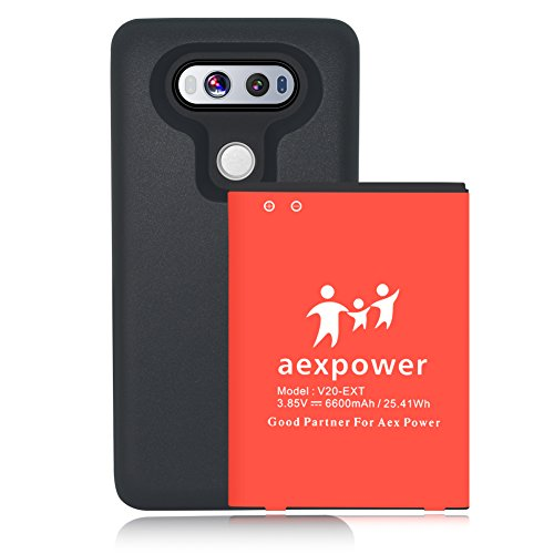 AexPower LG V20 [6600mAh] Extended Battery Replacement with Soft TPU Full Edge Protection Case (Up to 2X Extra Battery Power)- Black