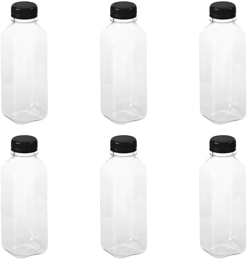 Cabilock 6 Piezas de Botellas de Agua de Plástico Vacías Transparentes con Tapas Botellas Reutilizables para Beber Agua Jugo de Leche Bebida 500 Ml (Tapas Negras)