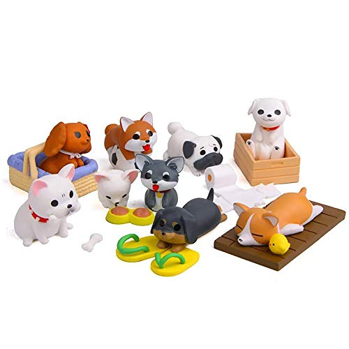 TangTanger 8 pcs (1 set) Kawaii Animal Dog Characters Toys Mini Figure Collection Playset, Cake Topper, Plant, Automobile decoration