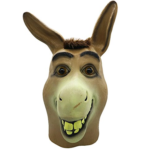 Donkey Mask,Halloween Shrek Donkey Head Mask, Novelty Deluxe Costume Party Cosplay Latex Animal Head Mask for Adult -