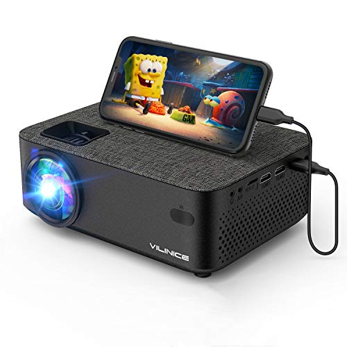 "WiFi Projector,VILINICE 5000Lux Mini Outdoor Movie Projector with Synchronize Smart Phone Screen,1080P and 240"" Supported, Compatible with Fire Stick,HDMI,VGA,USB,TV,Box,Laptop,DVD"