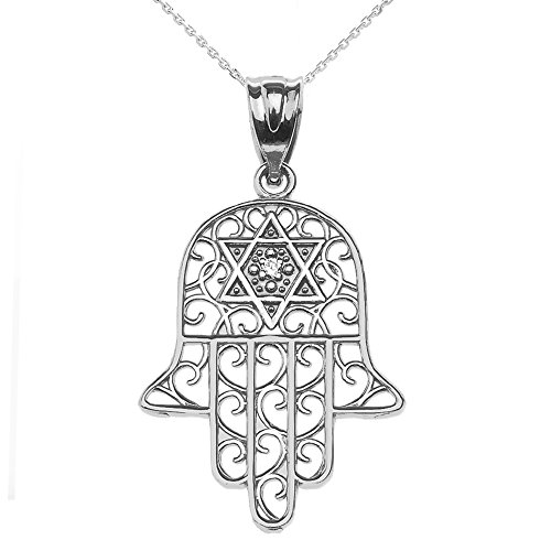 Jewish Jewelry by FDJ 14k White Gold Hamsa Hand with Star of David Diamond Centered Pendant Necklace 18