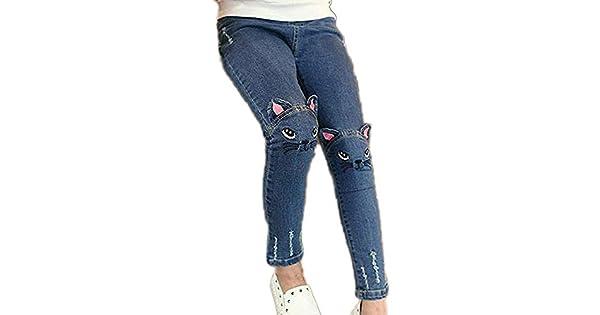 Amazon.com: Pantalones vaqueros para niñas con agujero ...