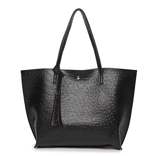 Oudan Women Handbag Leather Handbag Large Capacity Travel Bag Large Capacity Travel Strip (color: Black, Size: One Size) Black