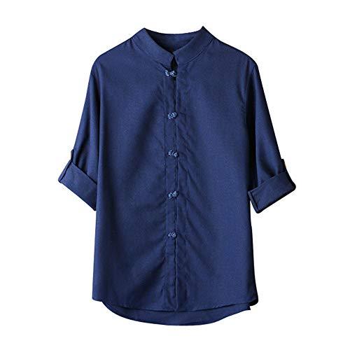 Mens t Shirts,Mens Shirts Men Classic Chinese Style Kung Fu Shirt Tops Tang Suit 3/4 Sleeve Linen Blouse Navy