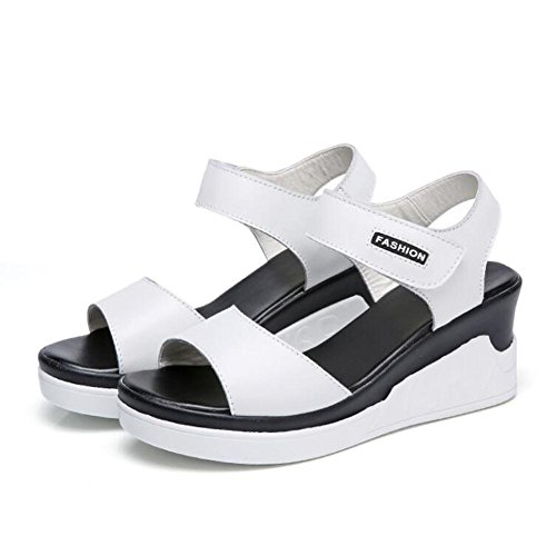 Sandalen L@YC Damen Sommer Leder Flache Sandalen In Der Hang Mit High Heels Wild 2017 Dicke Schuhe , white , 36