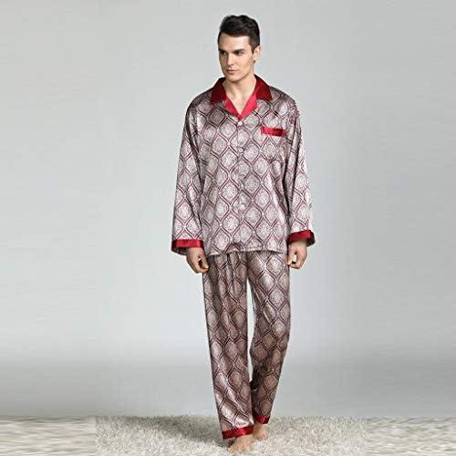 パジャマ CHJMJP 睡眠のためのパジャマセットパジャマ男性のプリントパジャマモダンなスタイルのシルクナイトガウンホーム男性サテンソフトコージー (Color : レッド, Size : XL)