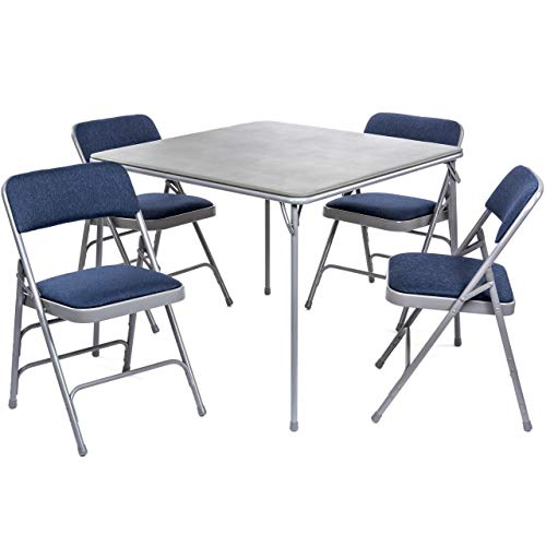 XL Series Folding Card Table and Fabric Padded Chair Set (5pc) - Comfortable Padded Upholstery - Fold Away Design, Quick Storage and Portability - Premium Quality (Grey, Navy/Grey)