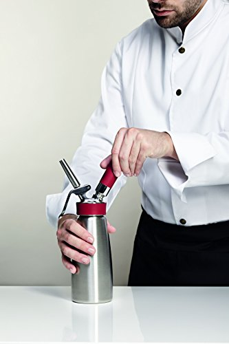 iSi Gourmet Whip Cream/Food Whipper for All Hot and Cold Applications, 1 Pint, Stainless Steel/Red 4 Product can be used for both hot and cold applications. Create fresh whipped cream you control the ingredients of, or specialized espumas and flavored foams. Product has a Stainless Steel bottle and head - both are dishwasher safe and sturdy enough to hold up to professional kitchens Includes 3 SS tips, star, straight and tulip, a cleaning brush and charger holder. Product is NFS and HACCP qualified