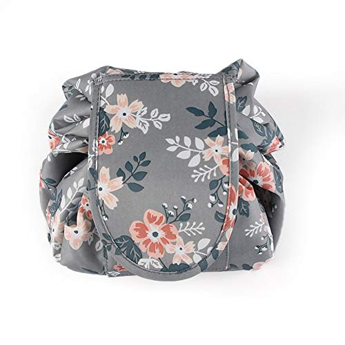 - Casual Waterproof Women Toiletry Bags Folding Large Capacity Lazy Cosmetic Bags (Light gray flowers)