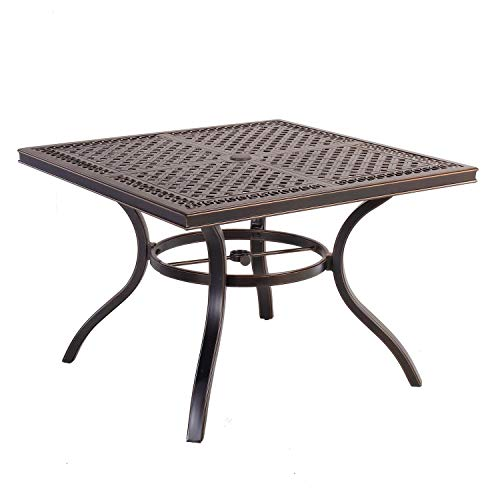 CW Chair 42″ Cast Aluminum Outdoor Square Dining, Rust-Free Patio Bistro Table with Umbrella Hole for Lawn Garden Backyard, Brown