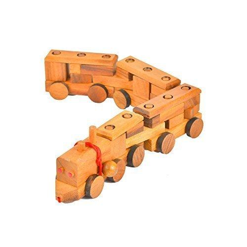 BRAIN GAMES Wooden Block Pull Along Train (Small)