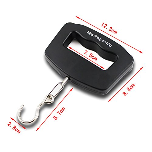Odowalker Fishing Scale Luggage Weighing Scale Digital Electronic Balance Backlit LCD Display Scales with Hanging Hook,50 Killogram / 110 lb - Big Handle by Odowalker (Image #3)