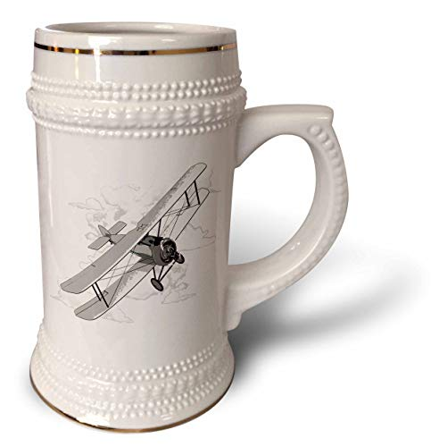 3dRose MacDonald Creative Studios - Aviation - Classic vintage biplane airplane flying through the clouds for pilots - 22oz Stein Mug (stn_318236_1)
