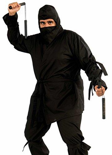 Kung Fu Master Adult Costumes (Forum Novelties Men's Plus-Size Full Figure Deluxe Ninja Costume, Black, X-Large)