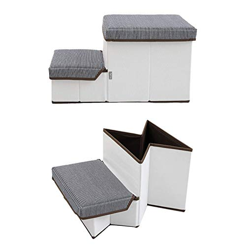 JAYBLY Foldable Collapsible Portable Storage Compact Pet Stairs for Bed and Couch-Small Indoor Pet-Friendly Steps Best Easy Travel Step Dogs Cats Modern Outdoor Fabric Decorative Padded Stair Treads