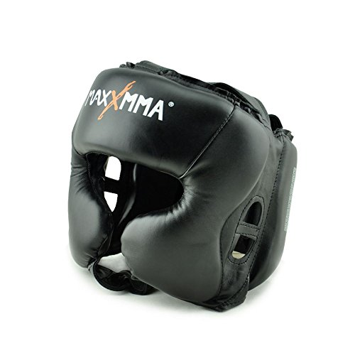 (MaxxMMA Headgear Black L/XL Boxing MMA Training Kickboxing Sparring Karate)