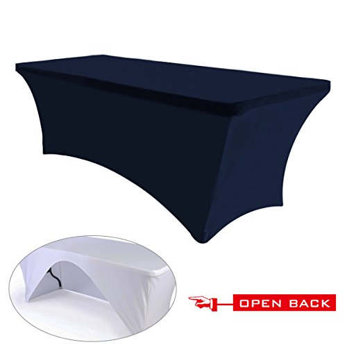 (30+colors)ABCCANOPY Table cloth 6 ft. Fitted Polyester Tablecloth Stretch Spandex Table cover (Open Back Navy Blue)