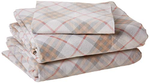 - True North by Sleep Philosophy Cozy Flannel 100% Cotton Cute Warm Ultra Soft Cold Weather Sheet Set Bedding, Twin Size, Pink Plaid 3 Piece