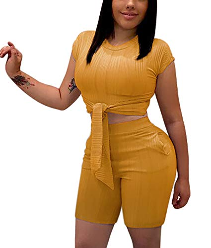 Women's Sexy Two Piece Outfits - Cute Tie Front Crop Top + Skinny Shorts Romper with Pockets XXX-Large Yellow