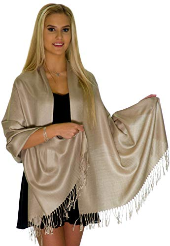 Pashmina Shawls and Wraps - Large Scarfs for Women - Party Bridal Long Fashion Shawl Wrap with Fringe by ShineGlitz (Beige)