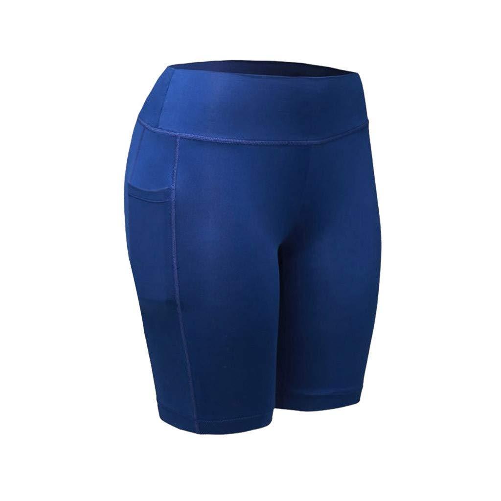 NUWFOR Women's High Waist Yoga Pants Pockets Tummy Workout Running Sports Shorts Pants(Blue,XS US Waist:24.4'')