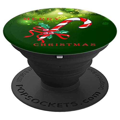 Merry Christmas Candy Cane Funny Xmas Holiday Green - PopSockets Grip and Stand for Phones and -