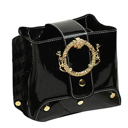 Wulofs Fashion Bright Leather Retro Wild Simple Bucket Single Shoulder Messenger Bag Star Pattern Metallic color (Black)