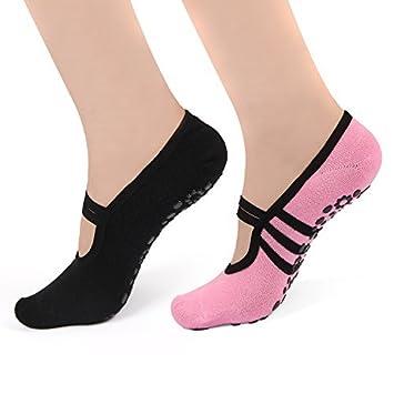 Calze da donna antiscivolo con gommini, perfette per lo yoga, il pilates o gli esercizi alla sbarra. A forma di scarpette ballerine. 2confezioni, donna, Black& Pink, US shoe size: 4-8 HARAVAL