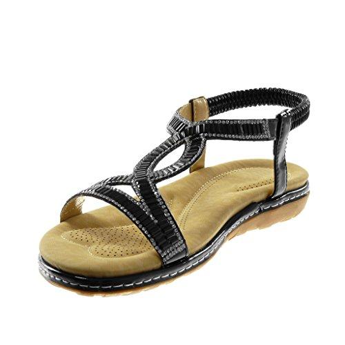 Strass Cheville Surpiqûres Femme Finition Angkorly Fantaisie Coutures 3 Plat on Mode Sandale Cm Chaussure Lanière Slip Noir Salomés Talon 708wz