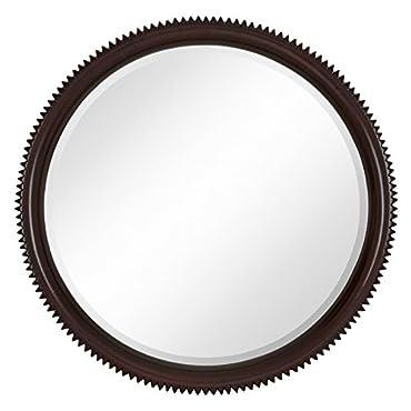 Majestic Mirror Contemporary Round Dark Brown Wenge Circular Beveled Wall Mirror