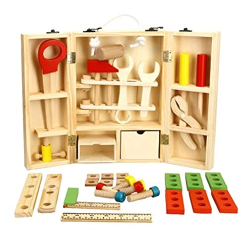 Nivalkid Wooden Tool Toys Toolbox Kids Toy Educational Toy DIY Construction Tool Wooden Portable Multi-function Simulation Toolbox Set Puzzle Toy Intelligence Building Blocks Toy (As shown)]()