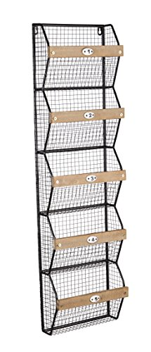 Cape Craftsmen Metal and Wood Wall Rack with Wire Bins