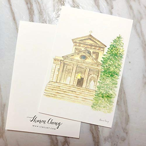 Hand-paint watercolor church postcard ()