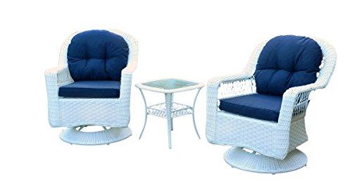Tortuga Outdoor Patio Furniture Swivel Chair Biloxi 3Pc Bistro Set - White Wicker