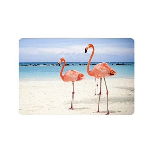 Christmas-Day-Home-Decor-Beautiful-Flamingo-On-The-Beach-White-Sand-Durable-IndoorOutdoor-Doormats-236L-x-157W-316-Thickness