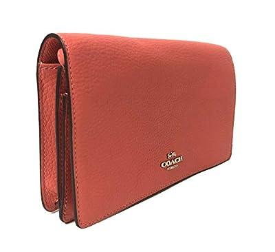Coach Pebbled Leather Foldover Clutch Crossbody Bag