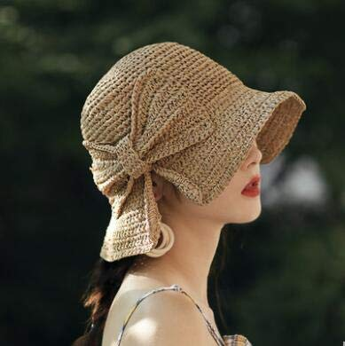 Eaglers Handmade Weave 100% Raffia Bow Sun Hat Wide Brim Floppy Summer Hats for Women Beach Panama Straw Dome Bucket Hat Femme Shade Hat