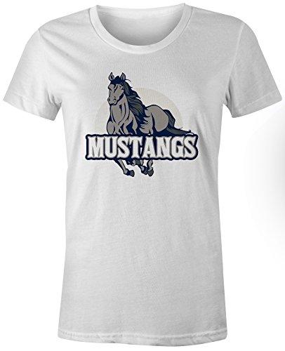 (Mustangs High School Mascot - White - Large - Short Sleeve - Womens)