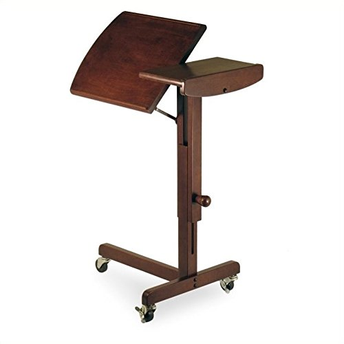 Pemberly Row Adjustable Mobile Laptop Cart in Antique Walnut by Pemberly Row