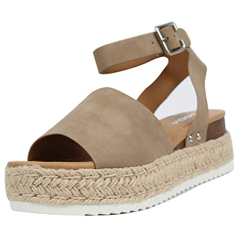 SODA Women's Open Toe Halter Ankle Strap Espadrille Sandal, Dark Natural, 6 M US