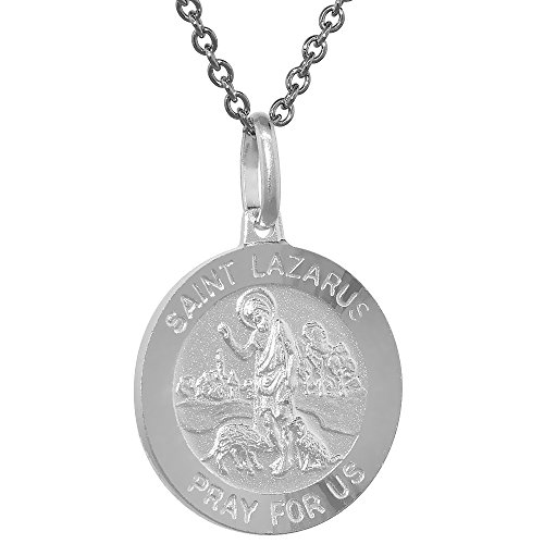 Sterling Silver St Lazarus Medal Necklace 3/4 inch Round Italy ()