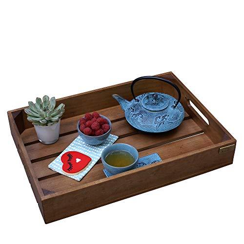 Liza Line Bandeja de Madera con Asas, Estilo Caja Vintage. Desayuno, Snack, Bandeja para Servir de Pino Macizo - 50 x 35 x 8 cm (Pino Natural): Amazon.es: ...