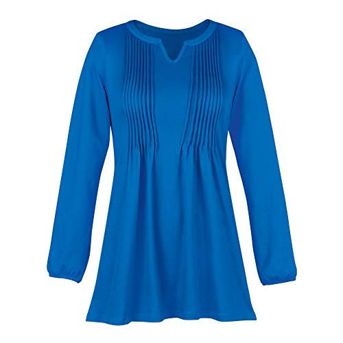 Collections Etc Women's Flattering Knit Pintuck Tunic with Pleated Bodice - Pair with Leggings or Jeans for Cute Outfit, Royal Blue, ()