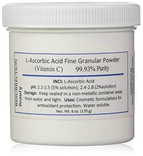 L-Ascorbic Acid Powder (Vitamin C), 6 oz. Jar. For Use in Serums and Cosmetic Formulations.