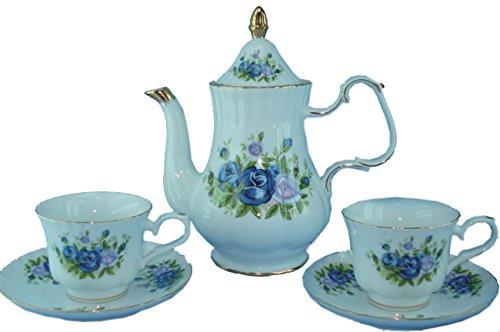 Green Pastures Wholesale Blue Rose Porcelain Tea Set, 9-Inch by 10-Inch -