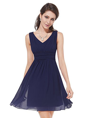 Ever Pretty Womens Sleeveless V Neck Short Chiffon Bridesmaids Dress 4 US Navy Blue